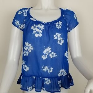 Hollister M Blue Sheer With White Flowers Blouse